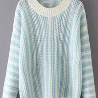 Blue White Striped Knit Long Sleeve Sweater