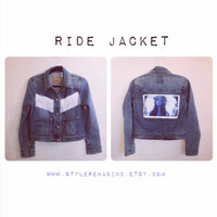 Ride Jacket. Vintage Levis jean jacket. Lana Del Rey picture on back from Ride song video. Indian feathers, fringe, Only one.