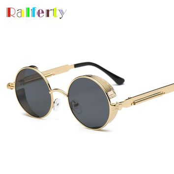 Ralferty Gothic Steampunk Sunglasses Women Men Vintage Retro Round Metal Sun Glasses UV400 Steam Punk Goggles Mirrored Oculos