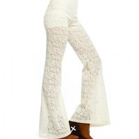 SUN DANCE LACED BELLBOTTOMS CROCHET CREAM PANTS STRETCHABLE- INSANEJUNGLE