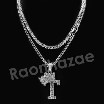 Iced Out King Crown T Initial Pendant Necklace Set.