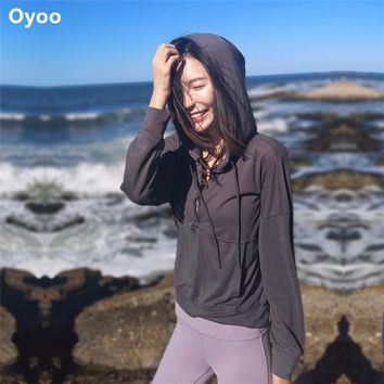 Oyoo Mint Long Sleeve Lace-up Front Yoga Top Women Winter Mint Workout Running Shirt Pink Fitness Sports Jerseys Loose Hoodies