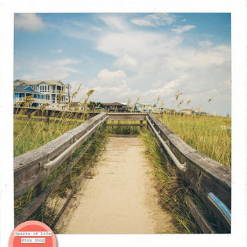 Square digital download, beach boardwalk printable, fine art photography, travel, North Carolina, summer wall art, home decor, vintage, sand