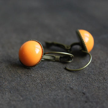 Orange bronze boho earrings - cabochon earring - 13 mm - feminine gift for her