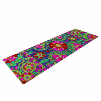 "S Seema Z ""Kashmeer Love"" Green Pattern Yoga Mat"