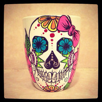 Hand painted sugar skull mugs made to order by ArianaVictoriaRose