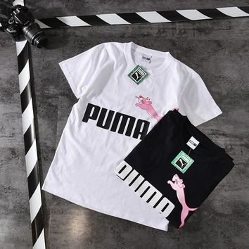 """Puma"" Unisex Fashion Casual Pink Naughty Leopard Print Letter Couple Short Sleeve T-shirt Top Tee"