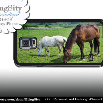 Horses Grazing S5 Equine Brown White Horse Galaxy S4 Case S3 Cover Note 2 3 4 Shell Cover Skin Bumper Photo