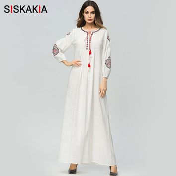 Siskakia vintage ethnic Embroidery long dress Cotton and Linen high waist A line maxi dresses white Ankle-Length draped design