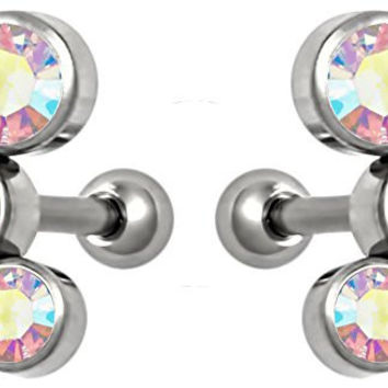 "Set of Cartilage Stud Earrings: 16g 1/4"" Surgical Steel Triple Aurora Borealis CZ Crystal Earrings"