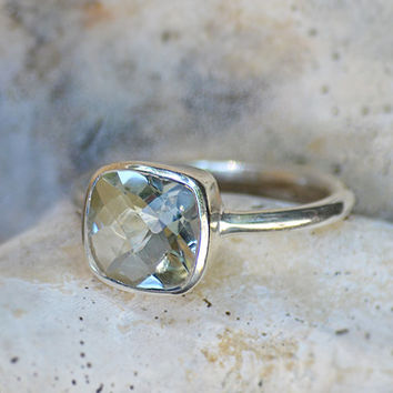 Faceted Natural Green Amethyst Sterling Silver cushion square shape stacking bezel set ring - February Birthstone