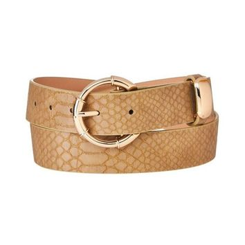 Textured Taupe Snake Print Belt