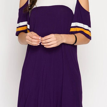 Purple and Gold Color Block Cold Shoulder Dress
