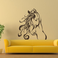 HUGE 3 FEET Flowing Mane  Horse  Vinyl Wall Decal Sticker  A0208