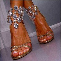 Bling Bling Rhinestone Wedding Party Bridal Shoes Open Toe Summer Stiltto Lady High Heels Sandals Crystal Pumps Shoes Size 12