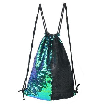 Fashion Mermaid Sequins Drawstring Backpack Women Glitter Bling Shoulder Bags Reversible Beach Bag Girls Travel Casual Paillette