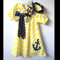 Yellow & Navy Chevron Anchor Dress & Headband Set