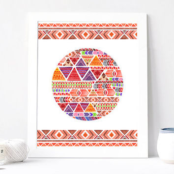 Bohemian Boho Art Print, Indie Tribal Abstract, Geometric Minimalism, Hippie Hipster Aquarelle, Circle Triangle Print Printable, Watercolor