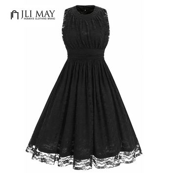 JLI MAY Summer lace black Dress women O-Neck Solid Ball Gown Sleeveless high waist work party 50s Vintage elegant ladies dresses