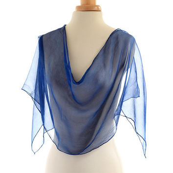 Indigo blue scarf, blue naturally dyed silk chiffon scarf, hand dyed natural indigo scarf, dark blue shawl, ink blue scarf, christmas gift