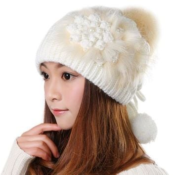 CREYU3C Fashion Female Beanies Autumn Winter Warm Knitted Hat Striped Women Hats Caps Ear Protection Knitting Cap With Pom Pom 0392