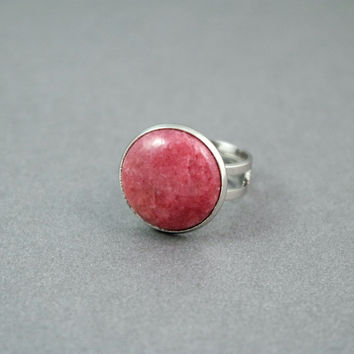 Pink Rhodonite Ring With Adjustable Silver Tone Band