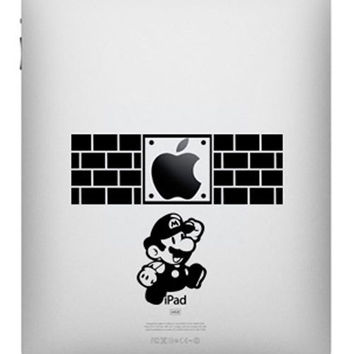 Super Mario -- iPad Decal iPad Sticker Art Vinyl Decal for Macbook Pro / Macbook Air / iPad 1 / iPad 2 / iPad 3/iPad 4/ iPad mini