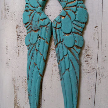 Aqua wings carved wood French Santos style wooden vignette shelf wall sculpture home decor Anita Spero
