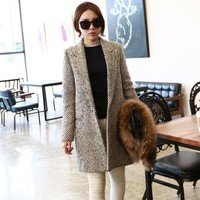 luxury wool coat winter women high quality fashion overcoat long blends over coats casacos femininos vintage striped Z980