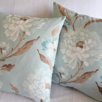 decorative modern patterned white mint green turquoise flowering home decor garden decor bedroom 18x18 inches pillows