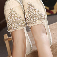 Khaki Beaded Shoes