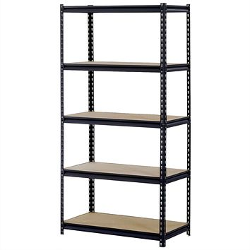 Sturdy Black Steel 5-Shelf Storage Rack Freestanding Shelving Unit