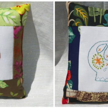 Mini Skull Pillow Hand Embroidered Brown and Yellow Floral or Night Garden in Blue Green Your Choice of One