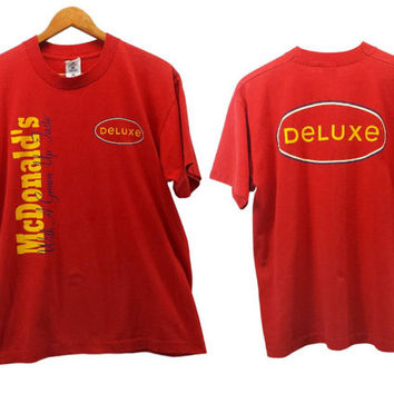 Vintage McDonald's Deluxe Hamburger T Shirt, Fast Food Fails, Distressed Worn, Retro Hipster T-Shirts, Mickey D's, 90s Tees, Golden Arches