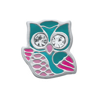 Owl Teal with Clear Crystal Eyes Floating Charm Silver