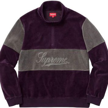 Supreme Velour Half Zip Pullover - Purple