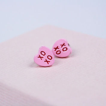 Vintage Conversation Heart Earrings XOXO Valentine's Post Earrings