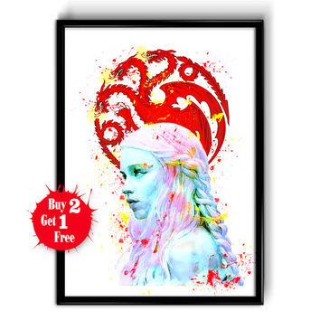 Khaleesi - Game of Thrones Watercolor Poster, Khaleesi Painting Giclee Illustration,  Daenerys Targaryen poster Art, Mother Dragon