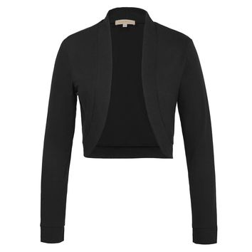 2018 Sexy Black White Cotton Bolero Womens Elegant Ladies Shrug Long Sleeve Big  Size Wedding Evening 1800033f3eab