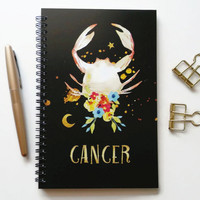 Writing journal, spiral notebook, bullet journal, black sketchbook, cute notebook, blank lined grid, zodiac sign, astrology - Cancer