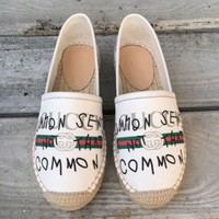 Gucci Twist Soles Flat Sandals Small Letters Cloth fisherman shoes B-TFDXY-XNEDX Beige(White)