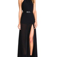 Black Sleeveless Backless Chiffon Halter Dress