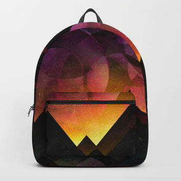Whimsical mountain nights Backpacks by HappyMelvin