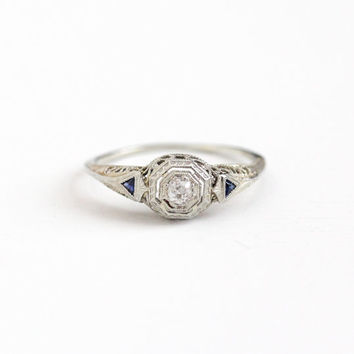 Antique 18K White Gold 1/10 CT Diamond & Created Blue Sapphire Ring - Vintage Art Deco 1920s Size 9 Filigree Engagement Wedding Fine Jewelry