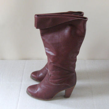 70s Zodiac Boots Burgundy Leather Heeled Boot Womens Size 7M