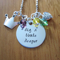 "Disney's ""Princess and the Frog"" Inspired Necklace. Tiana. ""Dig a Little Deeper"". Swarovski crystals, for women or girls."