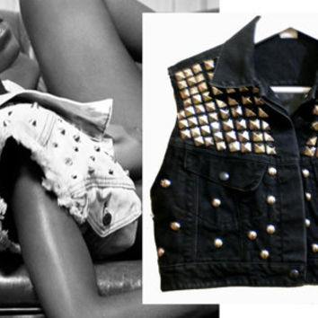 Black Denim STUDDED cropped festival vest (AU 8-10) (US4-6)