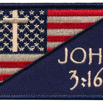 Tactical USA Flag Christian Cross John 3:16 Embroidered Patch