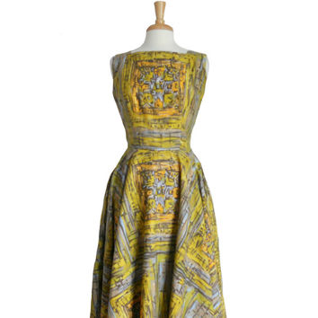Vintage 1950s Dress Summer Tank Style Midi - Chartreuse Green Orange Blue and Gray Print  - Jo White