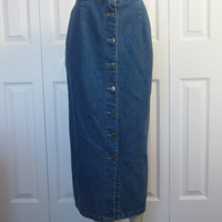 Vintage 90s Grunge Long Denim Skirt Midi Maxi Button Front Jean Skirt Womens Size 12 Petite Pencil Wiggle Hipster Skirt